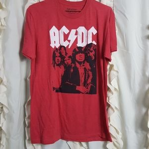 AC/DC band tee heathered red band on front novelty
